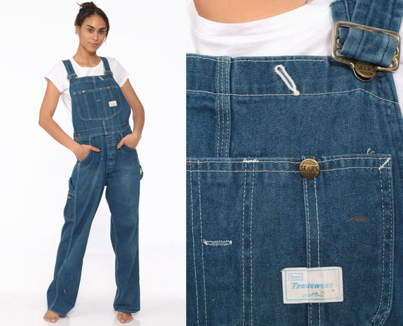 90s Denim Overalls -- Dungarees Bib Sears Long Pants Workwear 1990s Carpenter Suspender Jeans Coveralls Wide Leg BUTTON FLY Small
