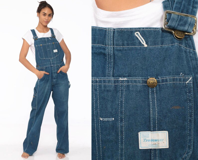 7b54847969 90s Denim Overalls Dungarees Bib Sears Long Pants Workwear
