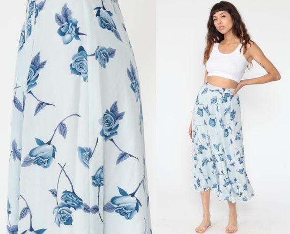 Floral Midi Skirt 90s Silk Skirt Baby Blue Skirt Saks Fifth Avenue Skirt Grunge Boho Print HIGH WAISTED 80s Long Vintage Hippie Small 6