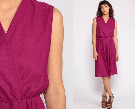 Magenta Dress Disco Party Grecian 70s Boho Midi Deep V Neck WRAP Dress Purple High Waist Vintage Sleeveless Bohemian Drape Small