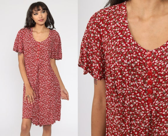 Floral Romper Dress 90s Wide Leg Playsuit Rayon Mini Dress Red One Piece Woman 1990s Short Sleeve Large