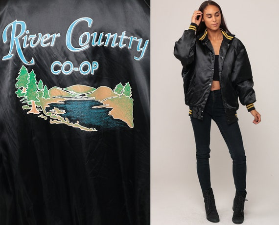 Black Satin Jacket 80s Baseball Jacket RIVER COUNTRY Co-op Graphic Jacket Snap Bomber Coat Shiny Vintage Raglan Sleeve Retro Extra Large xl
