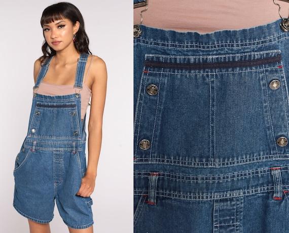 90s Denim Overalls Route 66 Jeans Shorts Bib Shortalls Women Grunge 1990s Blue Shorts Denim Vintage Medium