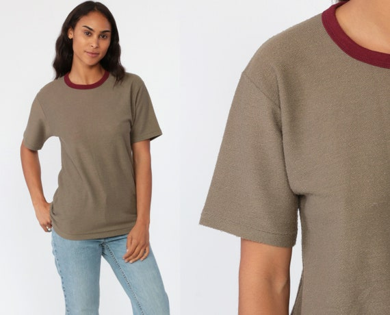 Taupe Ringer Shirt 80s  Plain Tee Tan 1980s Vintage Retro TShirt Basic Tee Hipster Normcore Small Medium