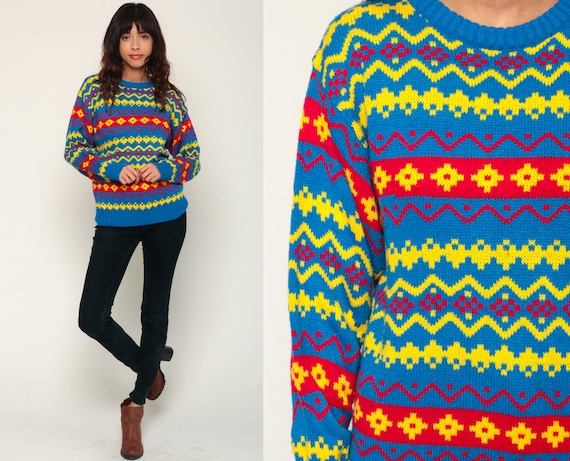 Fair Isle Sweater 80s Nordic Slouchy Knit Grunge Striped Neon Yellow Blue 1980s Retro Boho Pullover Sweater Jumper Medium