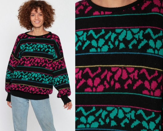 Metallic Floral Sweater 90s Graphic Print Wool Acrylic Knit Pink Green Slouchy 80s Pullover Vintage Jumper Black Grunge Medium Large