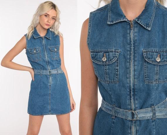 Gap Denim Dress 90s Mini Jean Dress Grunge Vintage 1990s Zip Up Blue Sleeveless Pocket Normcore Retro Extra Small xs