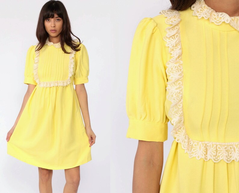 20c67e5461760 Ruffle Bib Dress 70s Yellow Babydoll Mini Dress Empire Waist 60s Mod Puff  Sleeve Dress Dolly Vintage 1970s Twiggy Minidress Small Medium