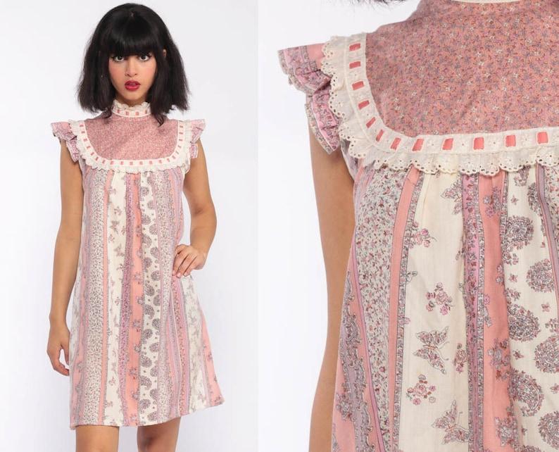 bc10f155e7 Prairie Dress 70s Floral Mini BUTTERFLY Boho Bib Paisley