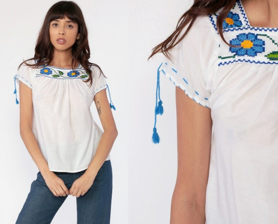 Mexican EMBROIDERED Blouse Hippie Top Boho FESTIVAL Cotton Bohemian White Blue Floral Vintage Ethnic Tent Shirt Retro Extra Small xs