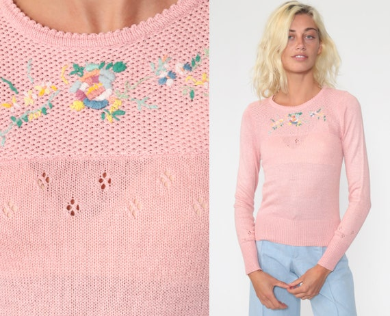 Floral EMBROIDERED Sweater 70s Pink Boho Sweater Knit Bohemian Sheer Pointelle Sweater Pullover Vintage Jumper Extra Small xs s
