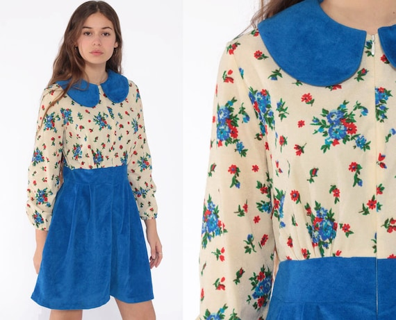 Peter Pan Collar Dress 60s Mod Blue Floral Mini 70s Graphic Print Babydoll Boho High Waist Vintage 1970s Long Sleeve Front Zip Small