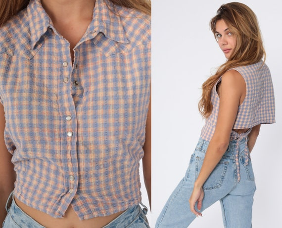 Western Crop Top Plaid Blouse 90s Checkered Shirt Button Up Tank Top 1990s Sleeveless Orange Lavender Vintage Keyhole Cutout Small Medium