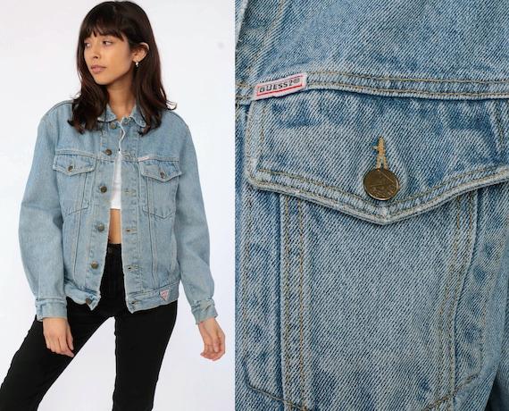 90s GUESS Jean Jacket Denim Jacket Vintage Georges Marciano Trucker Streetwear Grunge Deer Biker Blue Button Up 90s Basic Small