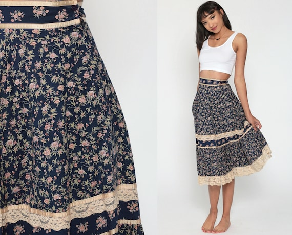 Gunne Sax Skirt Floral Prairie Skirt 70s Skirt Calico Midi Skirt Bohemian 1970s Boho Hippie High Waist Jessica's Gunnies Blue Extra Small xs