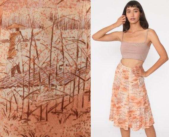 70s Asian Print Skirt Boho Skirt Midi Skirt High W
