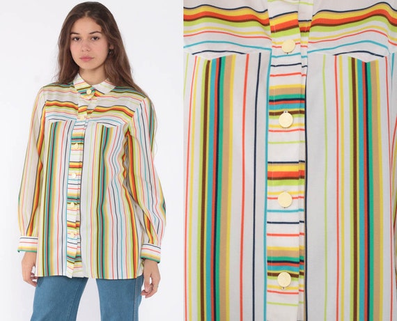Rainbow Shirt Button Up Shirt Striped Blouse 70s Boho Hippie Top Vintage Long Sleeve Collar Tunic Small Medium