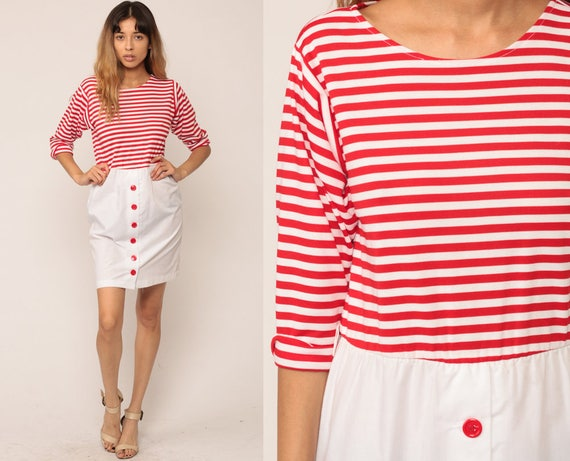 70s Mini Dress Striped Dress Boho High Waisted Retro Button Up Skirt Nautical Sailor 1970s Vintage Red White Bohemian Small Medium