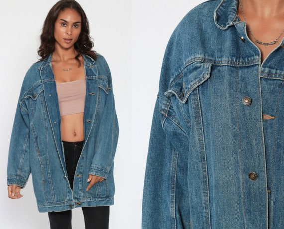 Long Jean Jacket 80s Denim Jacket Trucker Stone Wash 1980s Vintage Biker 90s Grunge Trench Coat Large