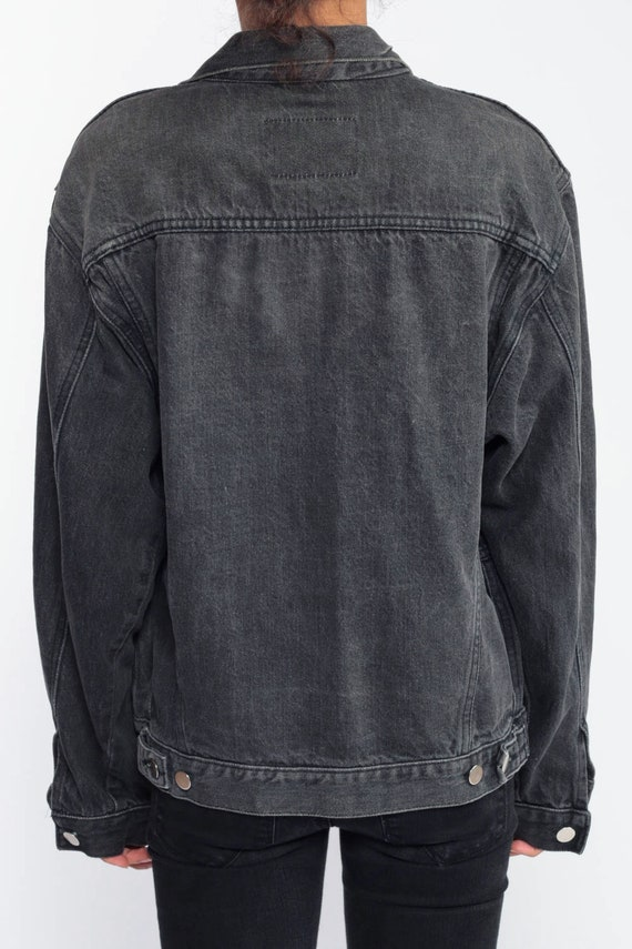 super cheap compares to recognized brands many fashionable Gap Jean Jacket LADY HARLEY PATCH 80s Denim Jacket Black Jean Jacket 1980s  Vintage Biker 90s Grunge Faded Charcoal Hipster Coat Medium