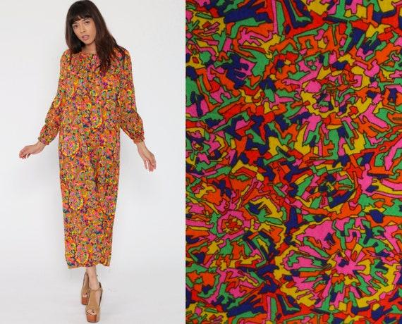 Hippie Maxi Dress Psychedelic Caftan 70s Long Sleeve Boho Neon Kaftan Bohemian Vintage Festival Retro Pink Orange Abstract Small Medium