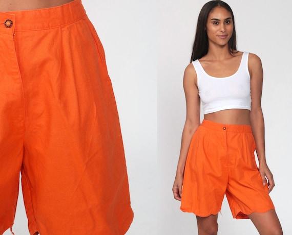 Orange Shorts 90s Mom Shorts High Waisted Shorts Boho Scalloped Hem Neon Orange Shorts Pockets Hipster Bohemian Retro Extra Small XS