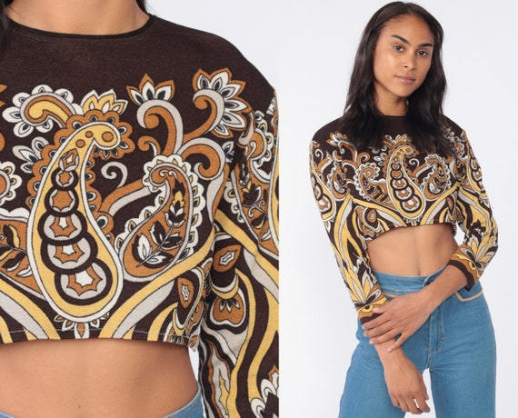 Hippie Crop Top Psychedelic Shirt 70s Blouse Mod Brown Paisley Hippie Blouse Boho Shirt Long Sleeve 1970s Small Medium