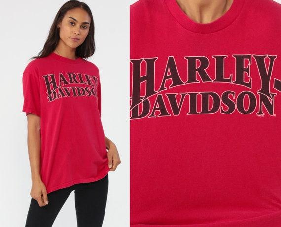 Harley Davidson TShirt USA Motorcycle Shirt 90s Biker Tee Red t shirt 1990s Rocker Milwaukee Wisconsin Small Medium