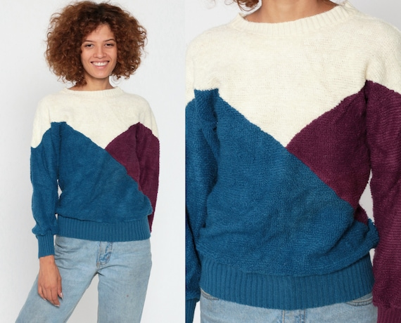 Color Block Sweater Blue Purple Looped Knit 80s Sweater Pullover Acrylic Cream Oversized Slouch Jumper Vintage Retro Extra Small xs
