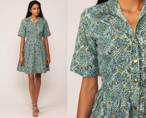 60s Floral Dress Mini PLEATED Mad Men 1960s Blue COTTON Day Dress Button Up Vintage Garden Party Short Sleeve High Waist Extra Small xs