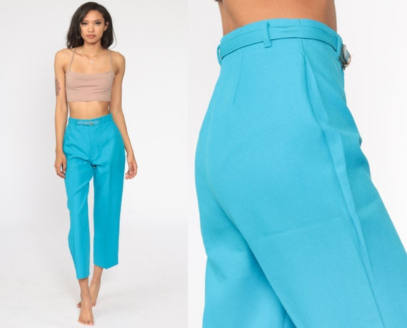 Turquoise Blue Pants 80s Trousers Straight Leg Pants High Waisted Trousers 1980s Belted Pants Vintage Preppy Extra Small xs