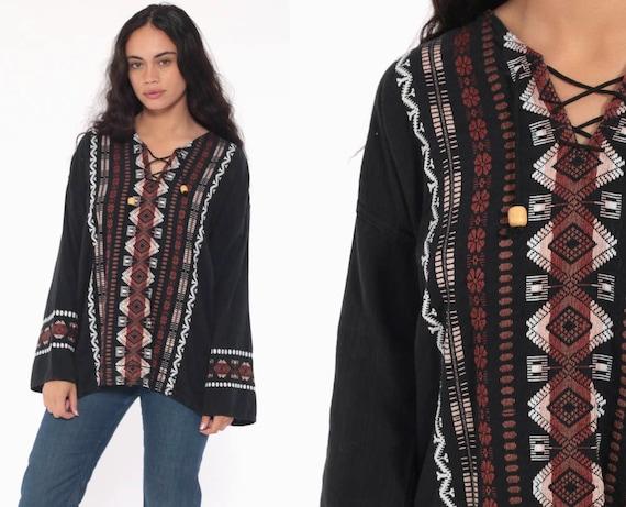 Embroidered Tunic Top Black Mexican Shirt Corset Neckline COTTON Ethnic Hippie Tribal Dashiki Boho Long Sleeve AZTEC Bohemian Large