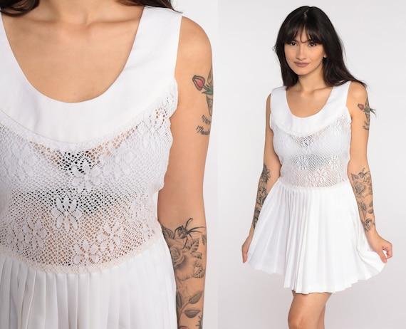 Pleated Tennis Dress 70s Mod Dress White Micro Mini Dress 60s Sheer Crochet Dress High Waist Vintage Sleeveless 1970s Twiggy Small xs s