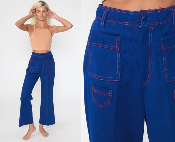 Bell Bottom Pants 25 70s Blue Pants High Waisted Trousers Boho Flared Polyester 1970s High Waist Hippie Vintage Bohemian Extra Small xs
