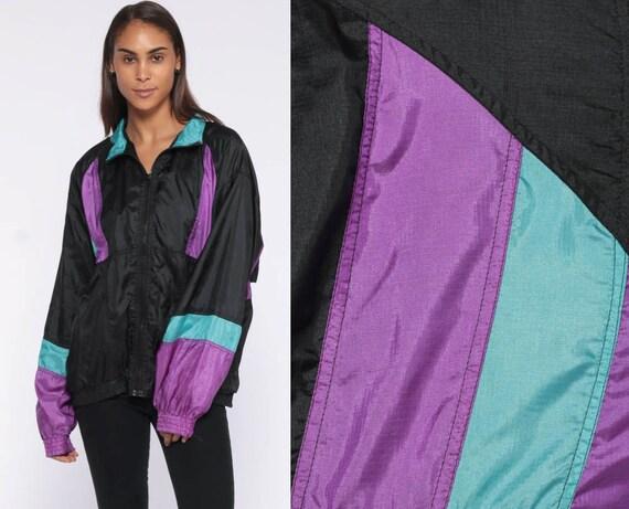 PUMA Windbreaker Jacket -- 90s Purple Color Block Print Black 80s Streetwear Warmup Track Suit Top Vintage Sportswear Sporty Medium Large