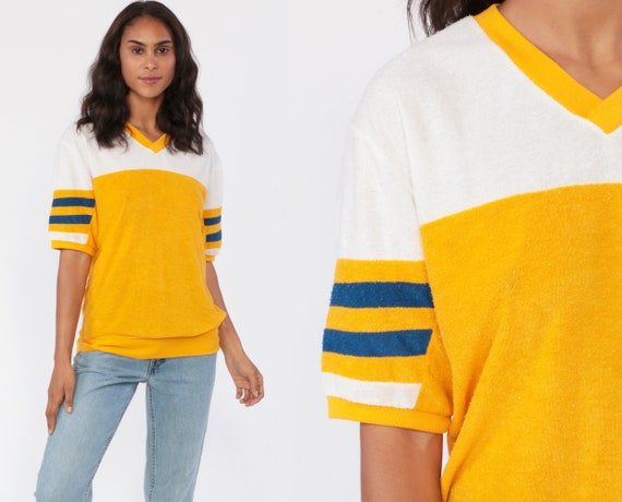 Terry Cloth Shirt RINGER Tee 70s Yellow Color Block Tee Football Striped Short Sleeve 1970s White V Neck Retro Vintage Medium Large