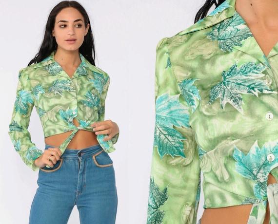 70s Crop Top Leaf Print Shirt Green Blouse Bohemian Button Up Cropped Shirt Disco Top Tie Waist Boho Long Sleeve Extra Small xs s