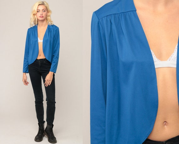 Disco Jacket Blue Jacket 70s Jacket Retro Drape Wrap Jacket Grecian OPEN FRONT Jacket Hipster Vintage 1970s Retro Seventies Small Medium