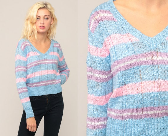 Pastel Sweater 70s Striped Sweater Baby Blue Purple Pink V Neck Knit Pullover 80s Vintage Semi Sheer Small Medium