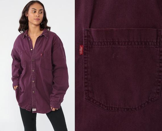 Purple Levis Shirt Denim Button Up Shirt Jean Shirt 90s Grunge Long Sleeve Cotton Oversized Button Down 1990s Streetwear Extra Large XL
