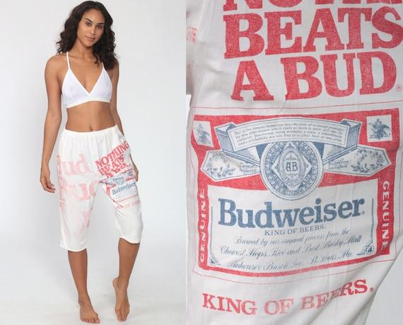 Budweiser Beer Shorts Bud Light 80s Budweiser Shorts 90s Surfer Cotton High Waisted Bermuda Shorts Vintage Linebacker Retro Small Medium