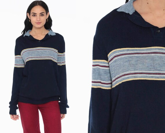 Striped Sweater 70s Sweater Navy Blue Navy Knit Polo Slouchy Boho Pullover Grandpa Button Up Nerd 80s Vintage Collared Retro small medium