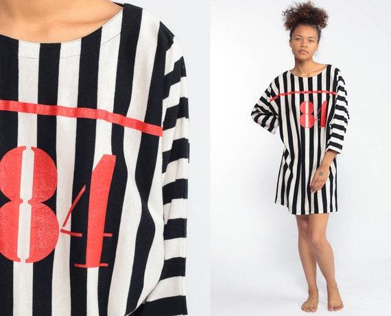 Striped TShirt Dress 1984 Sleep Shirt Football Pajama 80s Number 84 Night Shirt Retro Tee Black White 90s Sportswear Red Long Sleeve Medium