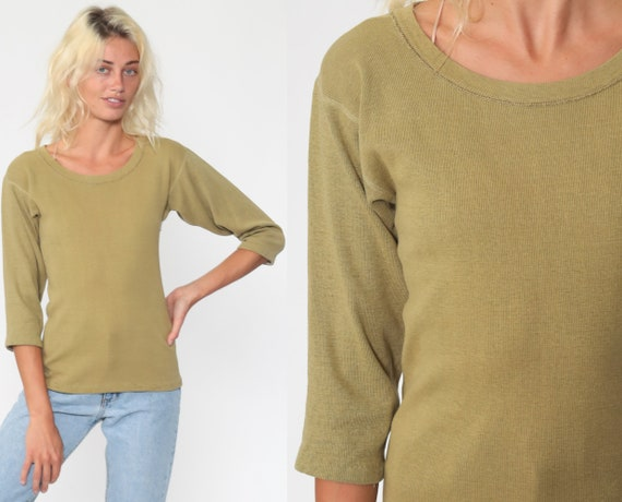 Army Undershirt Long Sleeve Shirt Plain Olive Shirt 80s T Shirt Retro Tee Vintage Cotton Tshirt 1980s Normcore Basic Plain Extra Small xs