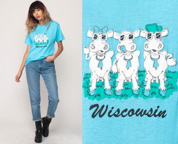 Wisconsin Shirt WISCOWSIN Cow T Shirt Graphic Tee Pun Shirt Vintage Joke Shirt 80s Tshirt Animal Retro T Shirt Print Paper Thin Medium