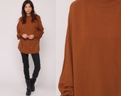 70s Sweater Knit Sweater Brown Sweater Raglan Sleeve Pullover Jumper Plain 1970s Hipster Vintage Extra Large xl 2xl