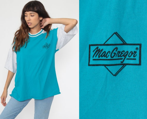 MacGregor Tshirt 80s Shirt Blue Tee Sports Athletic Top Retro Vintage 1980s Ringer Tee Turquoise Shirt Short Sleeve Extra Large xl