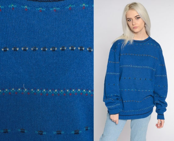 Blue Striped Sweater 80s Sweater Wool Knit Sweater Blue Stripes Slouchy Pullover Crewneck Sweater Vintage Gant Men's Large