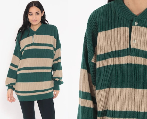 Brittania Polo Sweater Korea Striped Pullover Sweater 80s Knit Slouchy Green Taupe Pullover Grandpa Button Up 90s Vintage Extra Large xl l