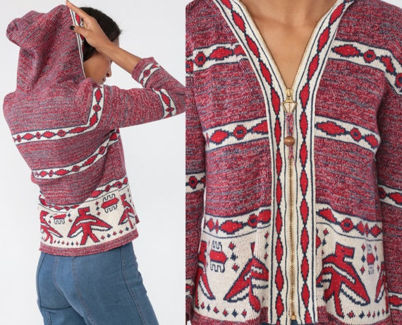 Boho Sweater Jacket 70s HOODED Tribal Eagle Print Zip Up Space Dye Red Blue Knit Hoodie Cardigan 1970s Vintage Retro Aztec Ethnic Small